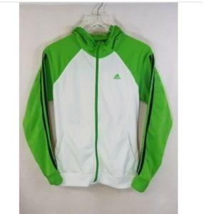 Adidas medium full zip white/green hooded jacket.